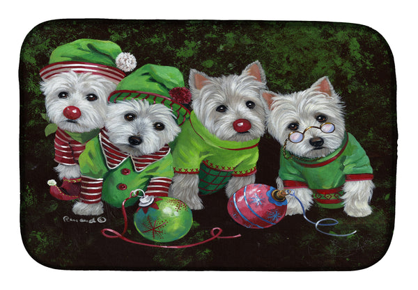 Buy this Westie Christmas Santa's Assistants Dish Drying Mat PPP3285DDM