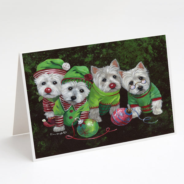 Buy this Westie Christmas Santa's Assistants Greeting Cards and Envelopes Pack of 8