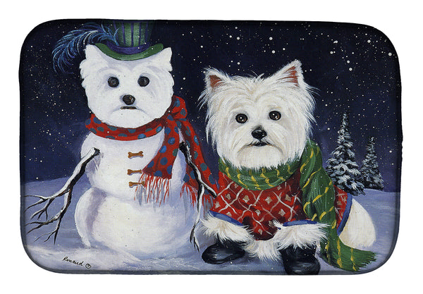 Buy this Westie Christmas Self Portrait Dish Drying Mat PPP3286DDM