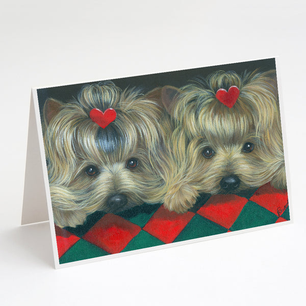 Buy this Yorkshire Terrier Yorkie 2 Hearts Greeting Cards and Envelopes Pack of 8