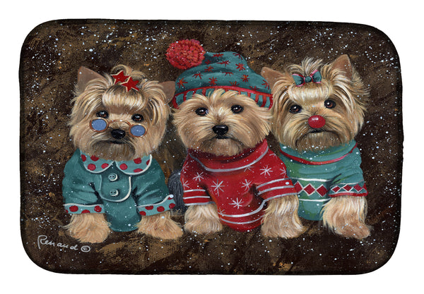 Buy this Yorkshire Terrier Yorkie Christmas Elves Dish Drying Mat PPP3291DDM
