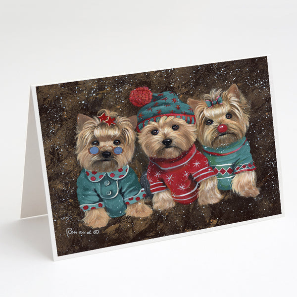 Buy this Yorkshire Terrier Yorkie Christmas Elves Greeting Cards and Envelopes Pack of 8