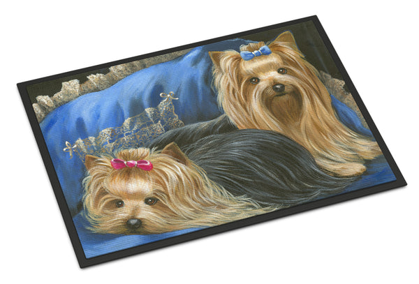 Buy this Yorkshire Terrier Yorkie Satin and Lace Indoor or Outdoor Mat 18x27 PPP3293MAT