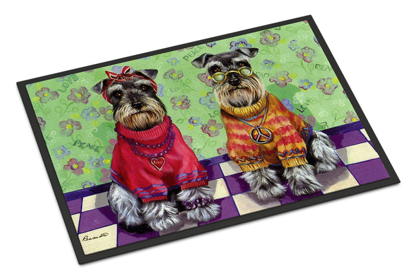 Buy this Schnauzer Love and Peace Indoor or Outdoor Mat 24x36 PPP3333JMAT