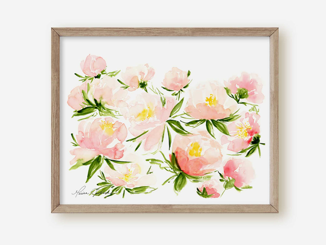 Pink Peonies Watercolor Painting Art Print | Peony Garden Picture 2