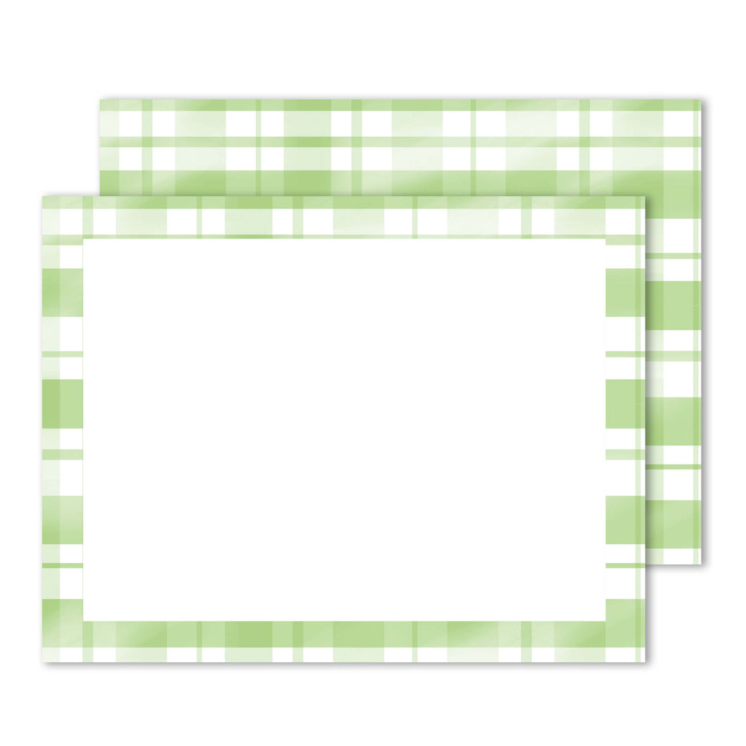Green Plaid Notecard Set