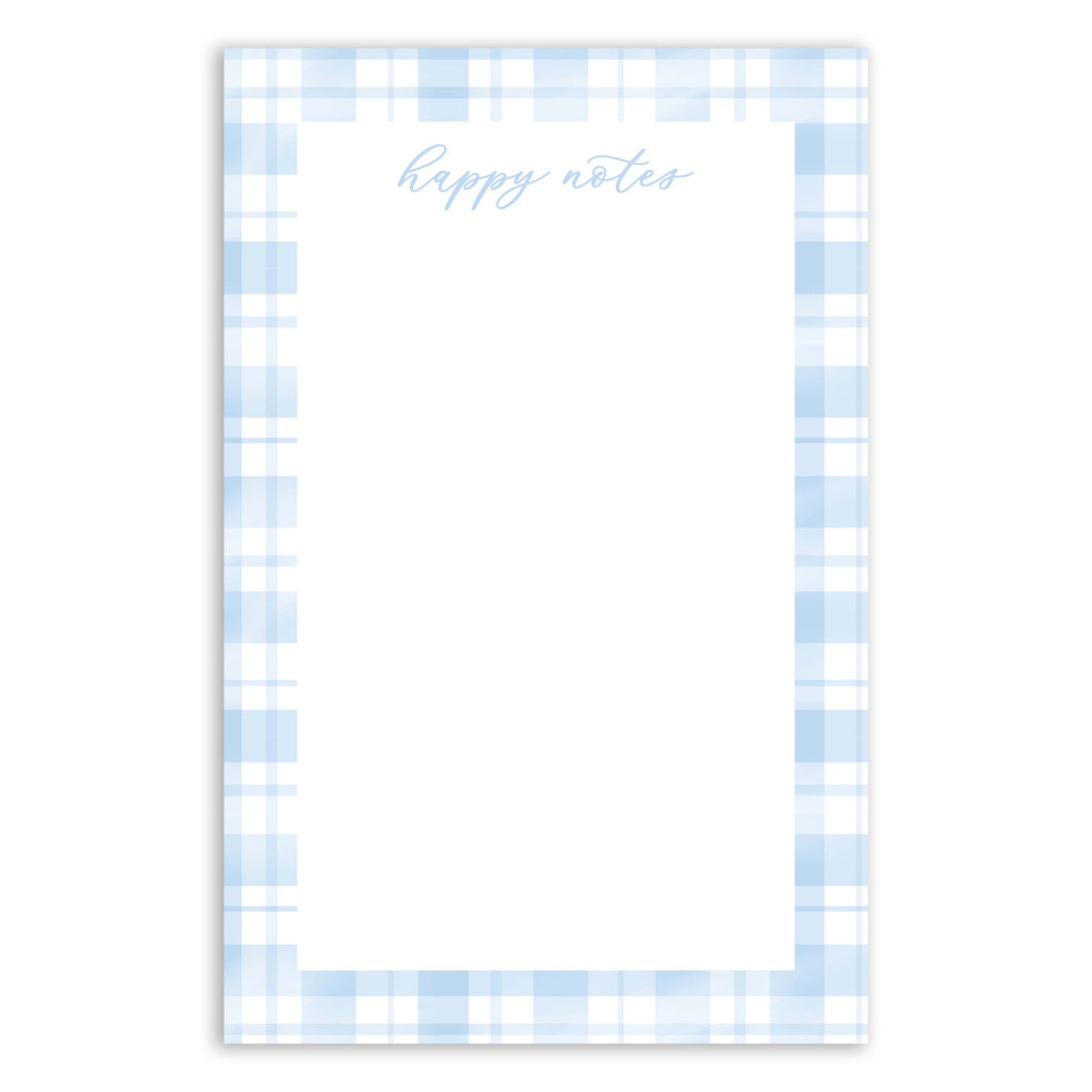 Happy Notes Blue Plaid Notepad