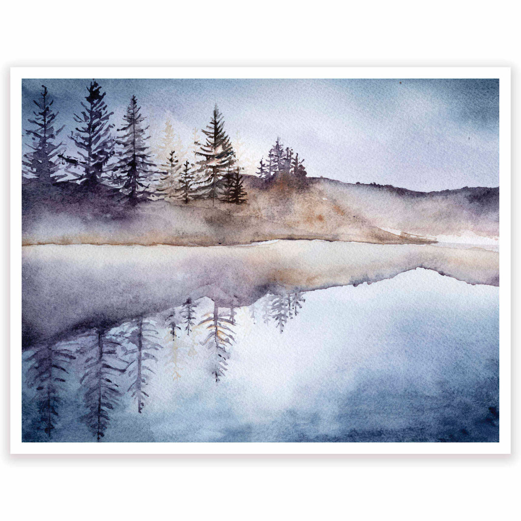 Evening Mountain Lake Art Print