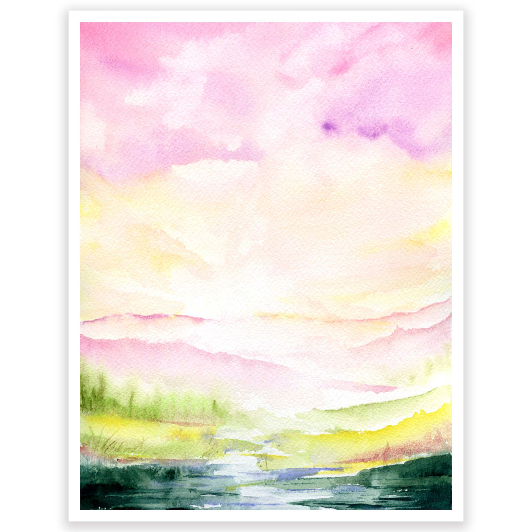 Pink Sky Mountains Art Print