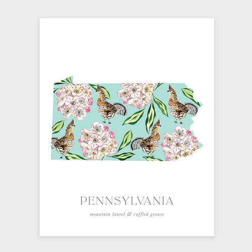 State Flower of Pennsylvania and State Bird art print. Featuring a pattern of mountain laurel and the ruffled grouse.