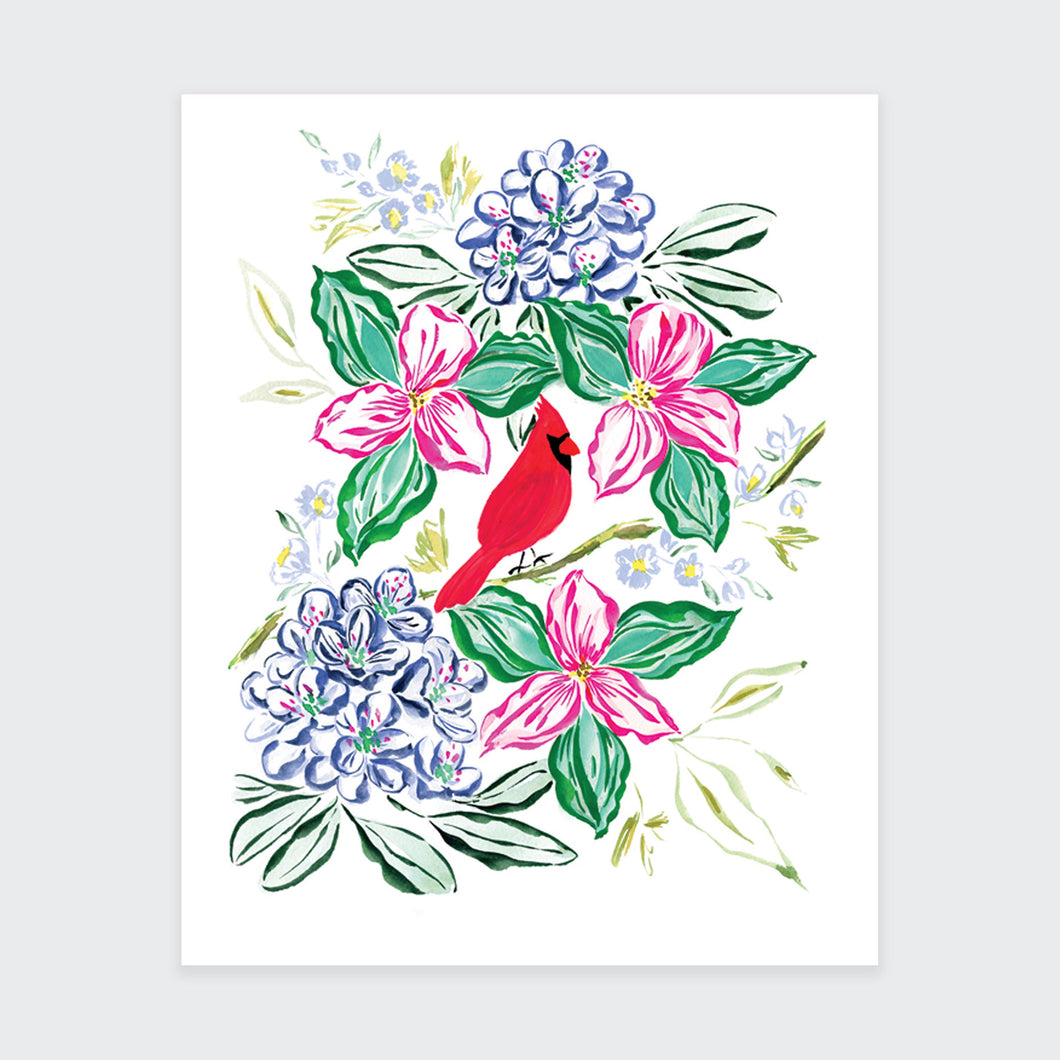 Spring Flower and Cardinal Art Print