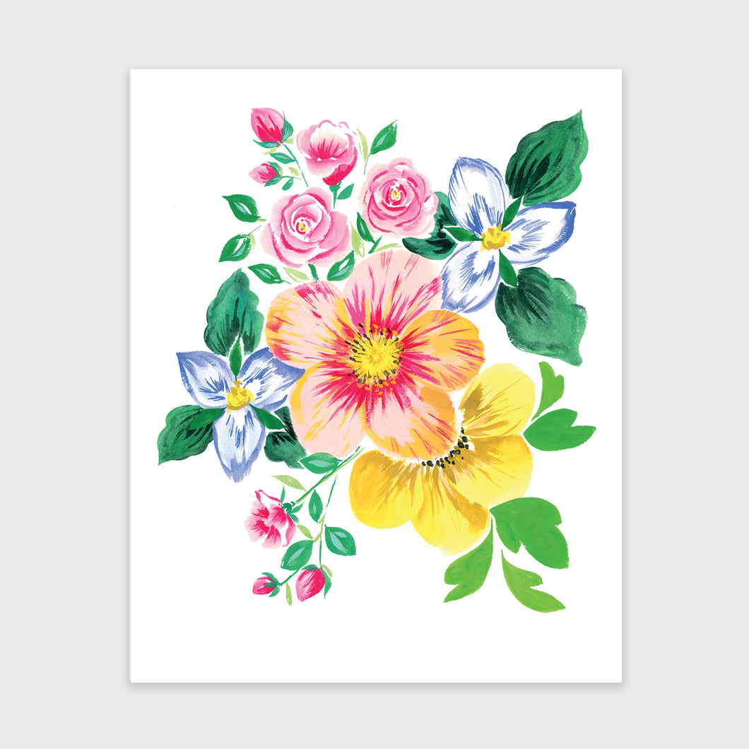 Spring Rose and Trillium Art Print