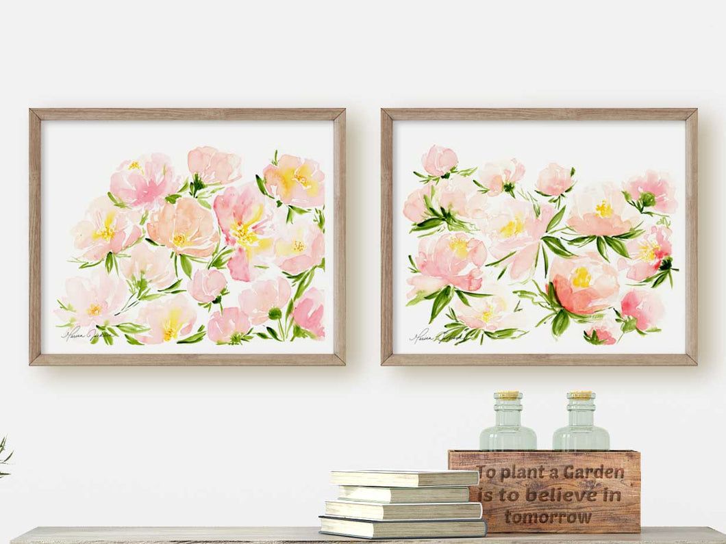 Set of 2 Pink Peonies Art Prints