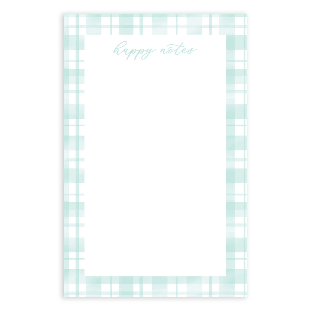 Happy Notes Teal Plaid Notepad