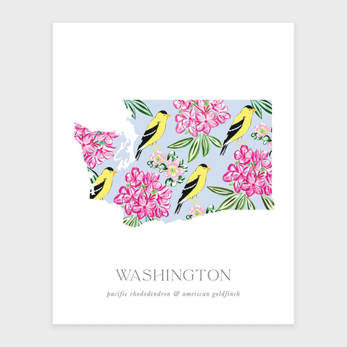 State Flower of Washington and State Bird art print. Featuring a pattern of the pacific rhododendron and the american goldfinch.