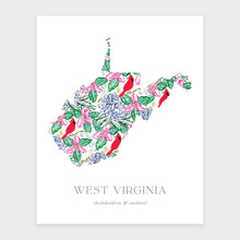Load image into Gallery viewer, State Flower of West Virginia and State Bird art print. Featuring a pattern of rhododendron and red cardinals.