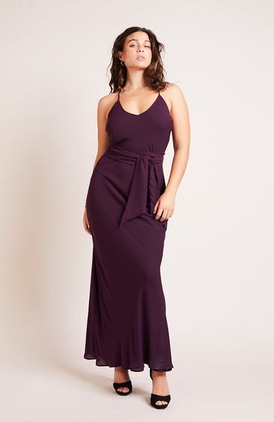 Brooklyn slip bridesmaids dress party blackcurrant purple plum