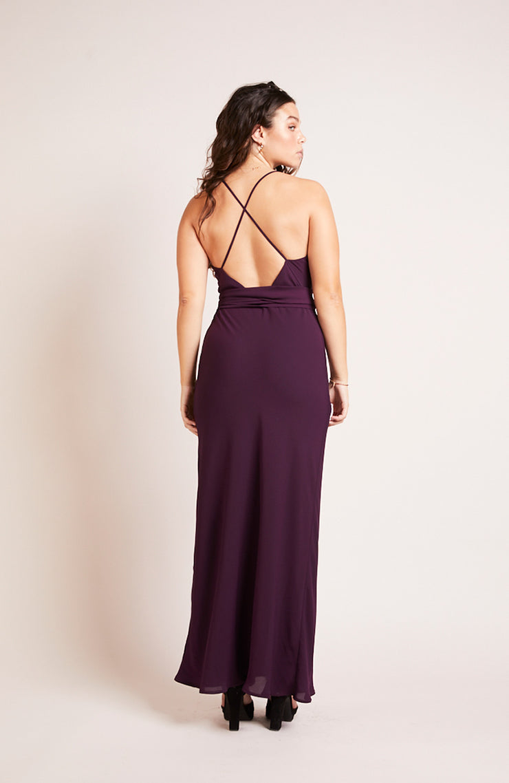 Brooklyn slip bridesmaids dress blackcurrant purple plum