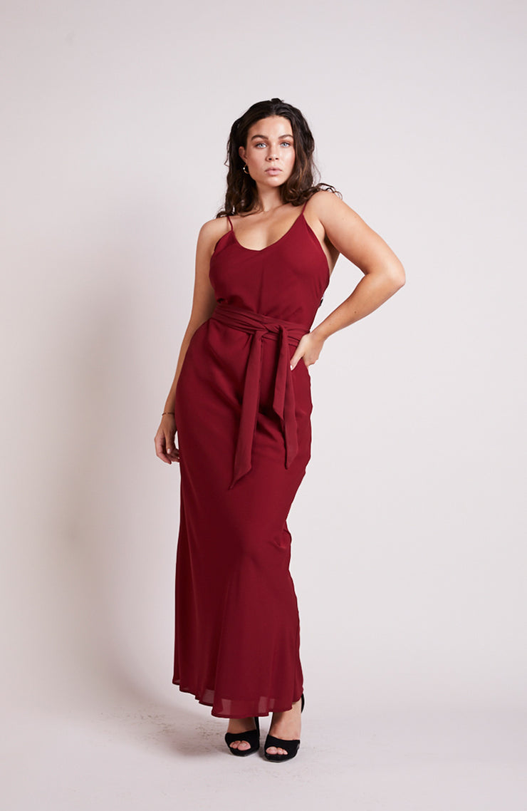 Brooklyn slip bridesmaids dress chianti burgundy red