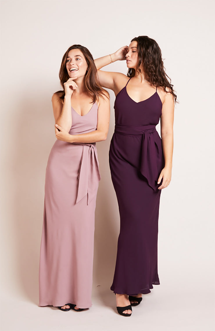 Brooklyn slip bridesmaids dress heather purple rose