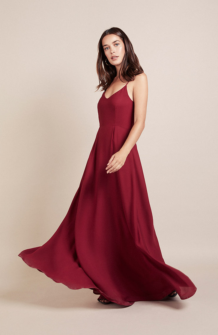 Ibiza bridesmaids dress in chianti red
