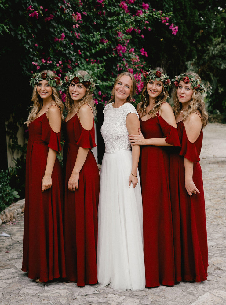 mykonos chianti cold shoulder bridesmaids dress red burgundy