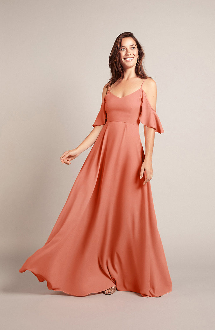 Mykonos coral bridesmaids dress by Rewritten