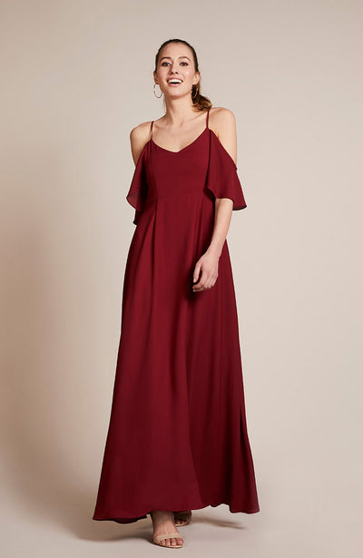 Mykonos cold shoulder bridesmaids dress chianti burgundy red