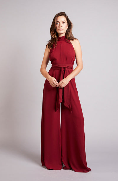Soho jumpsuit for weddings bridesmaid Chianti burgundy red