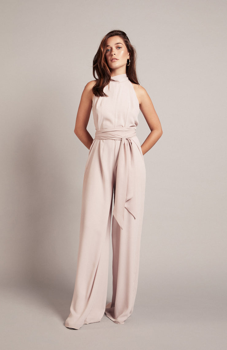 Soho jumpsuit weddings bridesmaids oyster pink blush