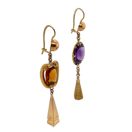 Exquisite Victorian 14K Gold Amethyst & Citrine Dangling Earrings