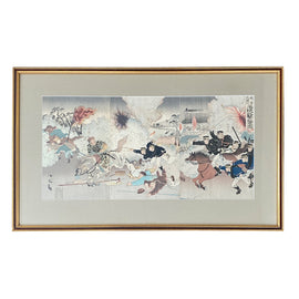 Sino- Japanese War Woodblock Print Signed Koto