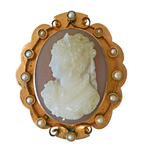 Victorian Rose Gold Carved Carnelian Cameo Brooch with Pearls