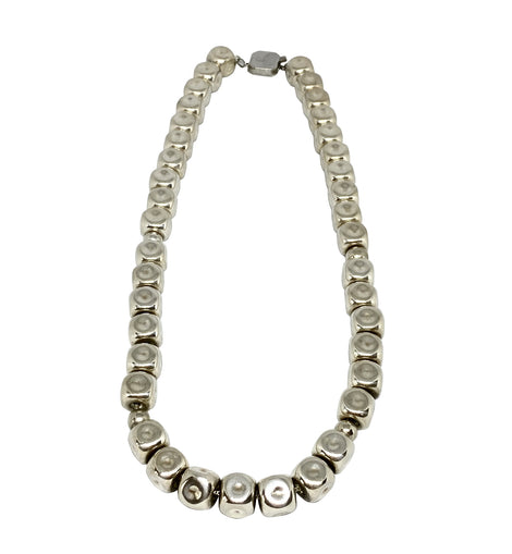 Fun Sterling Silver Abstract Bead Necklace