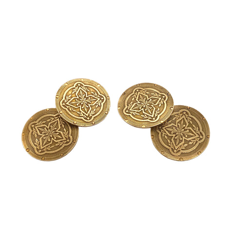 Edwardian 14K Gold Two Sided Cufflinks Wordley Allsopp Bliss WAB