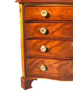 English George III Mahogany Inlaid Serpentine Chest