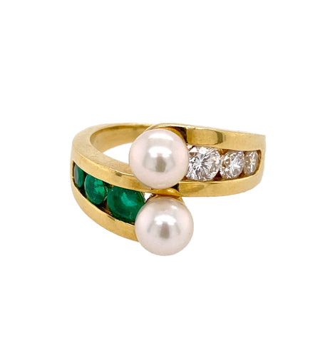 18K Gold Emerald, Diamond and Pearl Bypass Ring