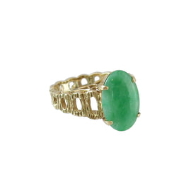 Modernist Period 14K Gold Jade Ring