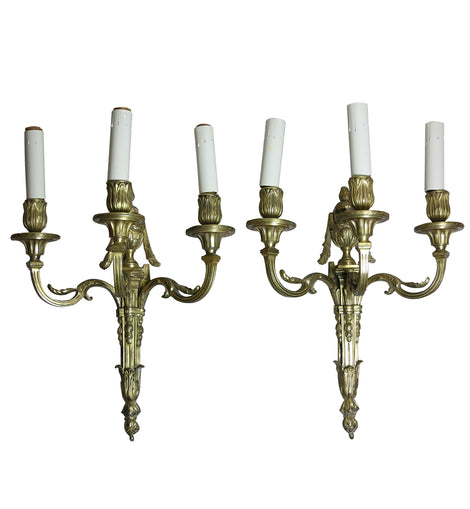 French Louis XVI Style Bronze Three Light Sconces