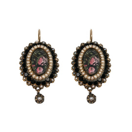 Victorian Gold Seed Pearl, Onyx, Hair Earrings & Pin