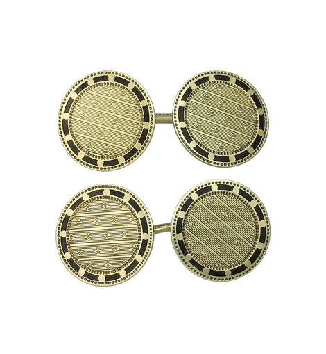 14K Gold Edwardian Engraved Enamel Two Sided Cufflinks