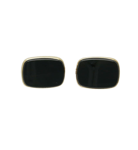 14K Gold Classic Onyx Toggle Back Cufflinks