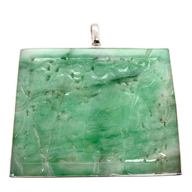 Chinese Jadeite Pendant With Silver Mounts c, 1900