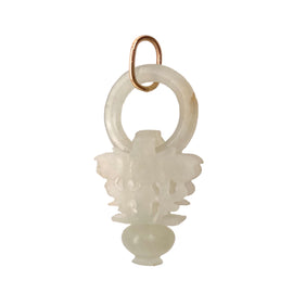Carved White Jadeite Floral Basket Pendant 14K Jump Ring