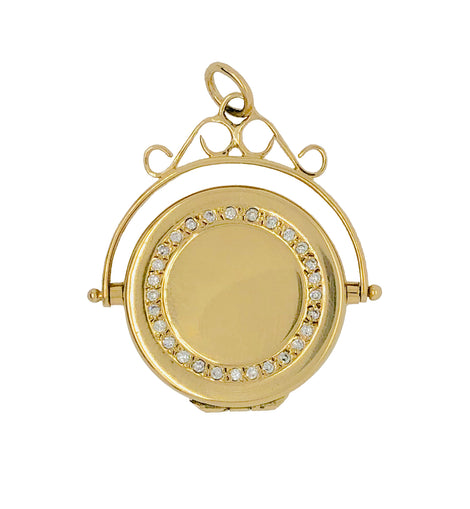 Victorian 18K Gold and Diamond Two Sided Locket Pendant