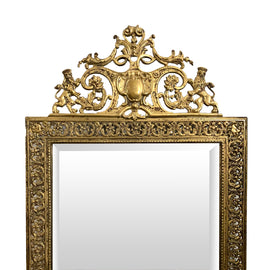French 19th C. Baroque Style Bronze Mirror
