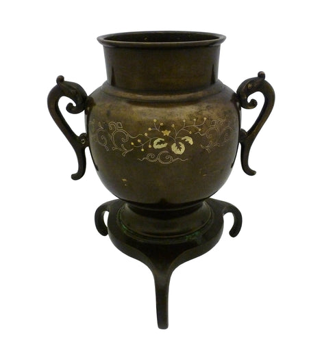 Japanese Meiji Period Silver Inlaid Bronze Censer
