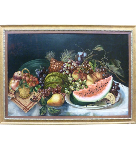 19th Century American Still Life With Watermelon