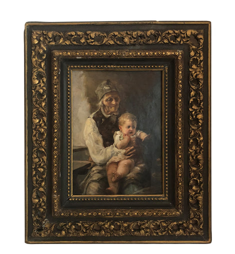 19th C. Italian Portrait Of Grandparent & Baby