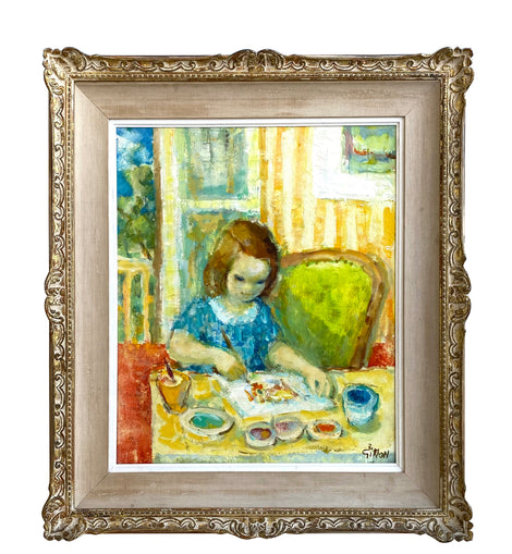 "Boris Simon, Painting of Young Girl""Petite Fille Dessiniart"""